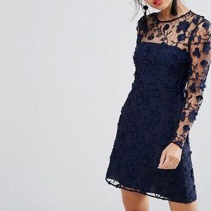 NWT ASOS navy blue 3D lace dress